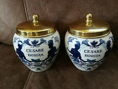 """Pair of Rare Vintage Delft pottery Tobacco Jar - 5"""" - Brass lid- Blue on White"""