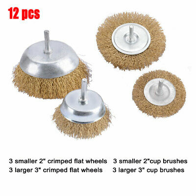 12x Drill Wire Wheel Brush Cup & Flat Crimped Steel Drill Attachment Brushes New