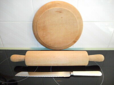 ANTIQUE WOODEN BREAD BOARD + ROLLING PIN + BREAD KNIFE Sheffield, England VGC