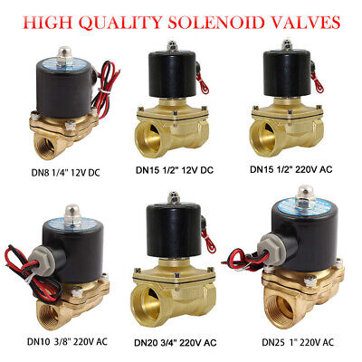 AC 220V DC 12V Electric Solenoid Valve Air Water Fuel Gas Brass Normal Closed NC