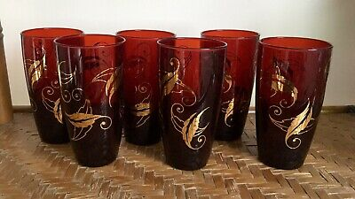 Vintage Set of 6 Cranberry Red Highball Tumblers With Gold Leaf Scroll Design