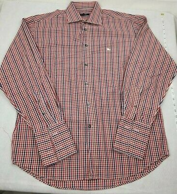 Burberry Brit London Long Sleeve Button Up Knight Red Plaid Checkered Mens Sz 41