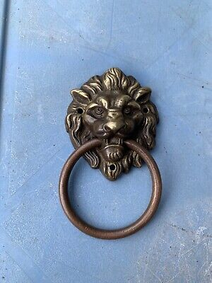 Antique Brass Lion Head Chest Drawers Cupboard Pull Ring Handle