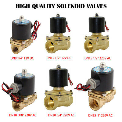 2 Way Solenoid Valve Air Water N/C Gas Oil Brass Normally Closed 12v 240v BSP UK