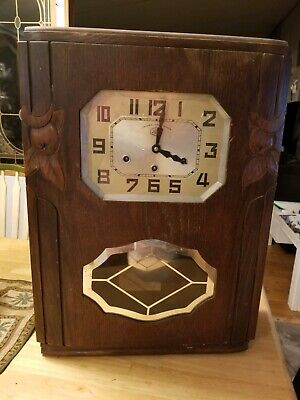 Antique Wooden Chime Wall Clock  Jura Veritable Westminster As Is