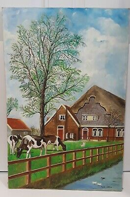 """VTG AMATEUR COWS GRAZING COTTAGE LAKE OIL PAINTING on CANVAS signed 27"""" X18"""""""