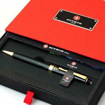 Free Engraving - Sotania Swiss Expert Black Ballpoint Pen Medium Point Roller...