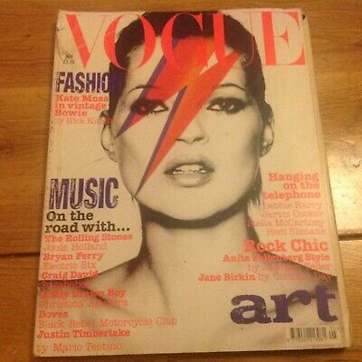 UK Vogue  magazine Kate moss as Bowie music special .