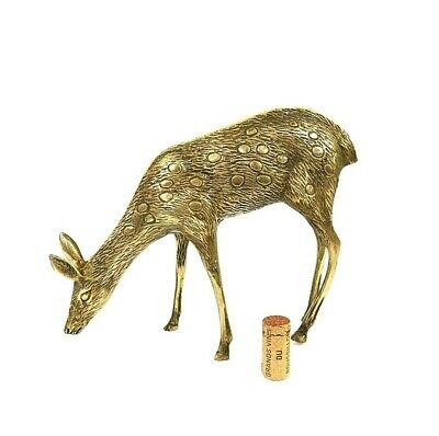 """MCM Mid Century Etched Brass Spotted Doe Deer 8"""" Large Holiday Woodland Decor"""