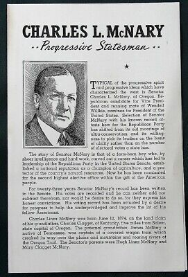 Oregon Senator Charles McNary for Vice-President orig 1940 campaign brochure