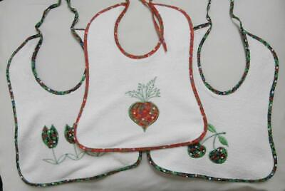 BN Vintage 1970's Baby's Unisex 3 Pack of White Appliquéd Terry Bibs Deadstock