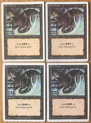 MTG - Magic The Gathering - 4x DARK RITUAL -  Revised - ENG - GD/EX