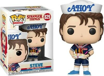 "Funko Pop! ""Stranger Things"" #829 STEVE Baskin Robins Bobble-Head Pop Protector!"