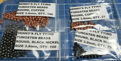 Tungsten Bead Heads, Various Colors, Quantity & Sizes, Packages of 25 or 100,