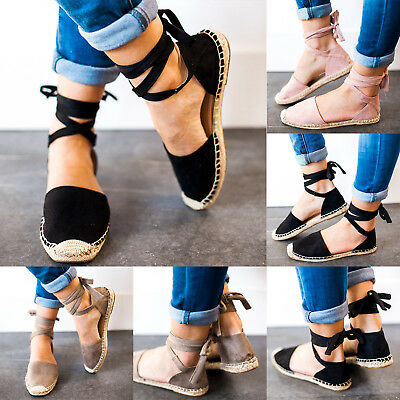 Womens Summer Lace Tie Up Strappy Low Flat Canvas Wedge Espadrilles Sandals Size