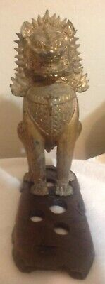 Antique Chinese Cambodian Asian Khumer Lion Foo Dog-large solid Bronze buddhist