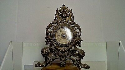 Antique Bronze Cast Iron W/U Table Clock Ornate-Pre-1900 Western Clock Co. 0Rigi