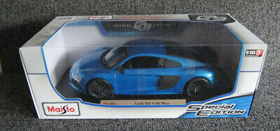 Audi R8 V10 Plus Blue With Black Rim Maisto 1:18 Special Edition Diecast Car