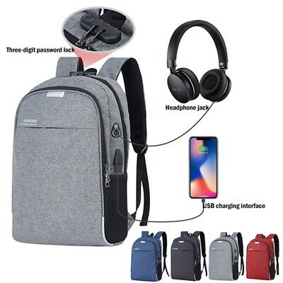 Unisex Anti-Theft Waterproof Business Laptop Backpack Travel USB Port School Bag
