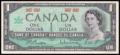 Canadian Money: 1867-1967 Issue, Centennial, $1.00 Bill Qeii One Dollar Note Unc