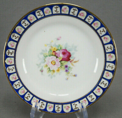 Noritake Hand Painted Pink Roses Floral Cobalt & Gold Moriage Bread Plate C 1908