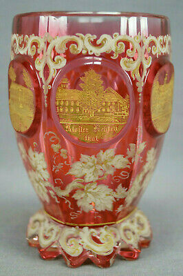 Bohemian Cranberry White Enameled & Gold Buildings Crystal Tumbler C. 1830-50s