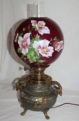 RARE 1890's Aesthetic Figural Rams Center Draft Banquet Lamp ~ HandPainted Shade