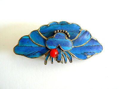 Qing Dynasty Kingfisher Feather Hair Pin Antique VINTAGE Blue Tian-tsui 點翠