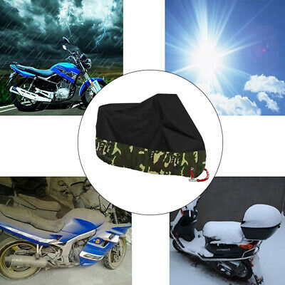 UV 50+ Motorcycle Cover Black + Camouflage Anti-Thief Lock Hole Motorbike Cover