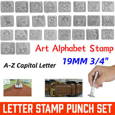 19mm Zinc A-Z Capital Letter Leather Craft Art Alphabet Stamp Set for Heavy Duty