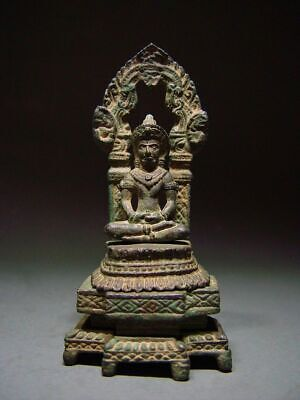 A KHMER BRONZE LOPBURI INTERLOCKING BUDDHA SANCTUARY. TEMPLE RELIC 19/20th C.