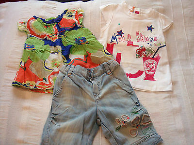 ensemble fille ~~ 2 ans  ***MARESE*** Oiseau de Paradis (tunique, T-shirt, short