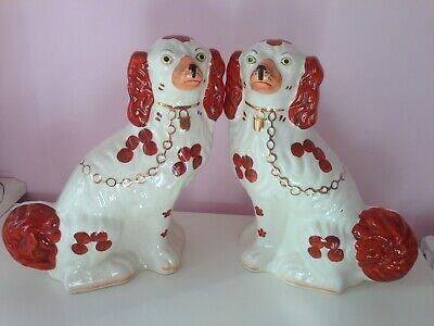 "Large Pair Of Vintage Staffordshire King Charles Spaniel Fireside Dogs 12"" Tall"