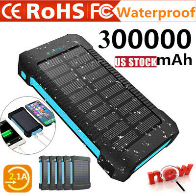 300000mAh Dual USB Portable Solar Battery Charger Solar Power Bank TO