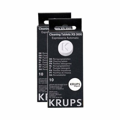 2 x Krups XS3000 Cleaning Tablets Pack of 10 Tablets (20 Total)