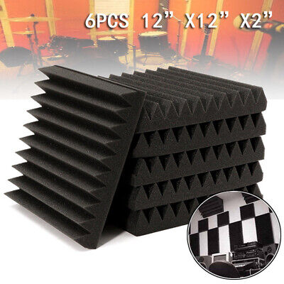 6pcs Acoustic Sponge Wall Panels Studio Soundproofing Foam Wedge tiles 12x12x2""