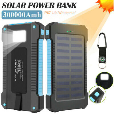 Waterproof Solar Power Bank 300000mAh Portable External Battery Charger TO