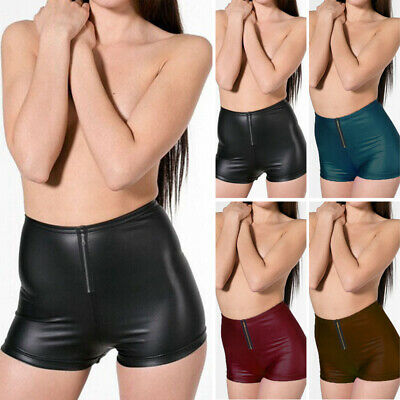 Women's Lady Sexy Faux Leather Wet Look Slim Fit Shorts Casual Underwear Shorts