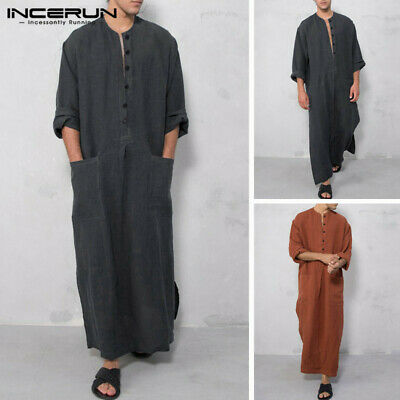100%Cotton Men's Kaftan Saudi Arab Islamic Clothing Long Sleeve Thobe Robe Tunic