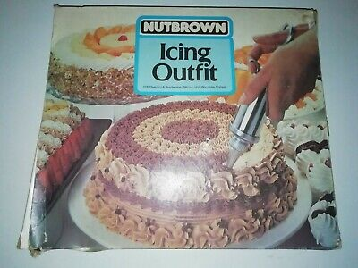 Vintage Nutbrown Icing Outfit / Kit retro syringe nozzles turntable design rings