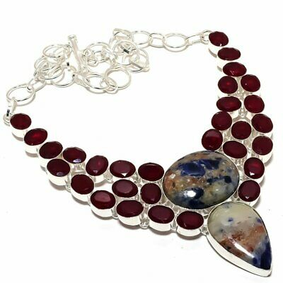 """Sodalite and Ruby Gemstone Handmade Silver Plated Necklace 18"""""""