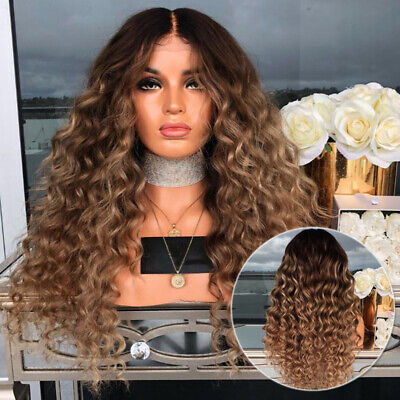Women Long Wig Curly Wavy Hair Wig Dyed Black And Yellow Gradient Cosplay Decor