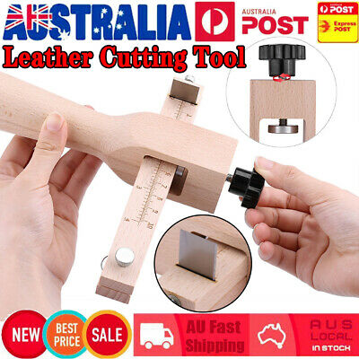 Wooden Leather Strap Strip Cutter Hand Cutting Craft DIY Tools Sets + 5 Blade AU