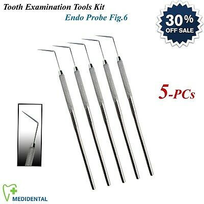 5-PCs Surgical Periodontal Endo Probe Fig.6 Tooth Tartar Plaque Remover Explorer