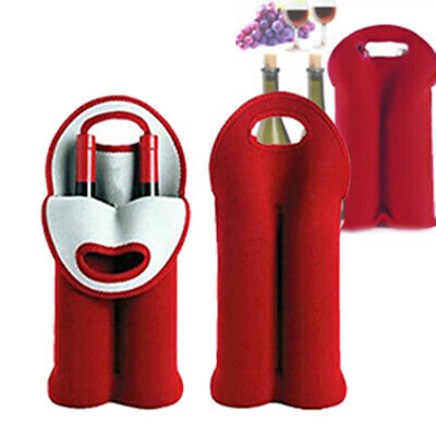 Red Double Bottle Wine Beer Cooler Insulated Neoprene Tote Bag Carrier Gift Bag