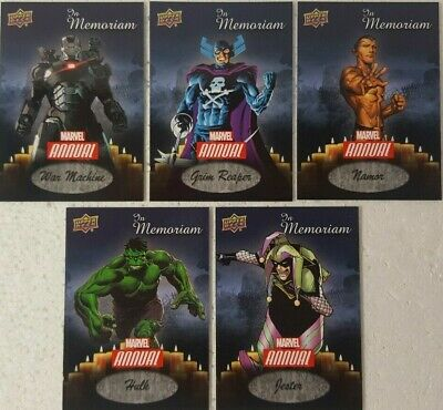 2016 Upper Deck Marvel Annual Trading Card Set of 5 IN MEMORIAM IM 1 - 5