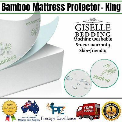 Bed Waterproof Bamboo Matress Protector Breathable Fabric Cover King Size Topper