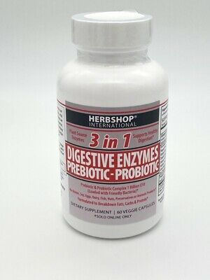 3 in 1 formula consist of Digestive Enzymes, Prebiotic and Probiotics 60 Count