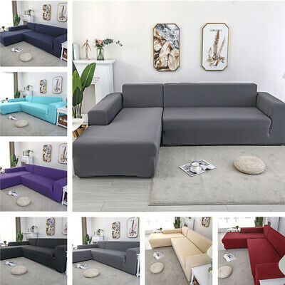 1/2/3/4 Seater Elastic Sofa Cover Settee Stretch Solid Slipcover Couch Protector