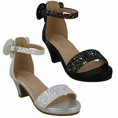 Girls Spot On Glitter Ankle Buckle Strap Heeled Bow Party Evening Sandals H1R109